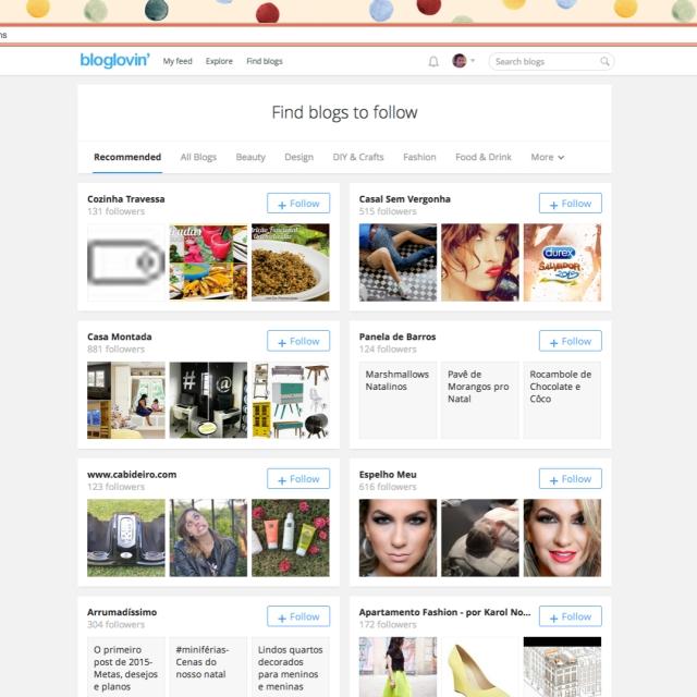 Sugestoes para seguir bloglovin